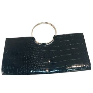 Giannini Clutch Black purse with metal ring handle